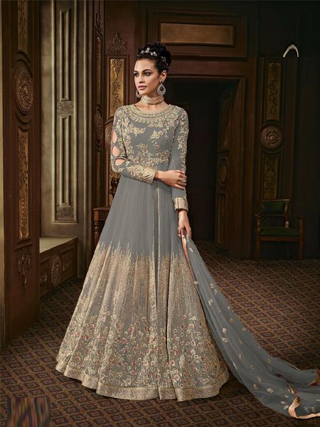 Georgette Embroidered Pakistani Suits In Grey