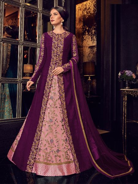 Pink and Purple Long Anarkali Gown