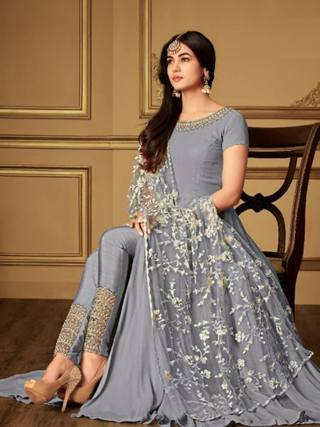 Plain Grey Anarkali Suit With Embroidered Dupatta