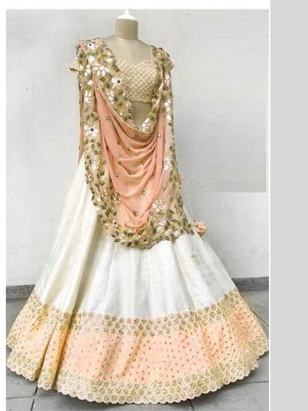 Designer White and Peach Embroidered Lehenga Choli