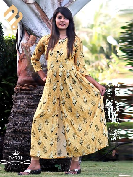 Buy Yellow Printed A-Line Kurti Online in India - YOYO Fashion