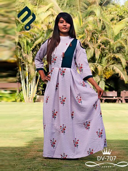 Buy Purple Printed A-Line Kurti Online in India - YOYO Fashion