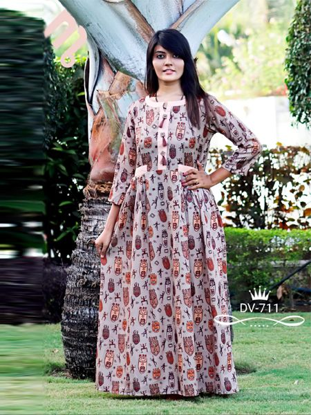 Buy Cream Printed A-Line Kurti Online in India- YOYO Fashion