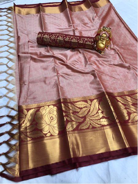 Pink and Golden Cotton Silk Saree