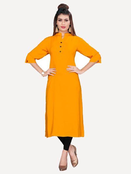 Buy Stylish Solid Orange Kurti Online in India - YOYO Fashion