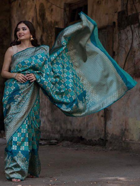Buy Blue Handloom Woven Banarasi Saree Online in India - YOYO Fashion
