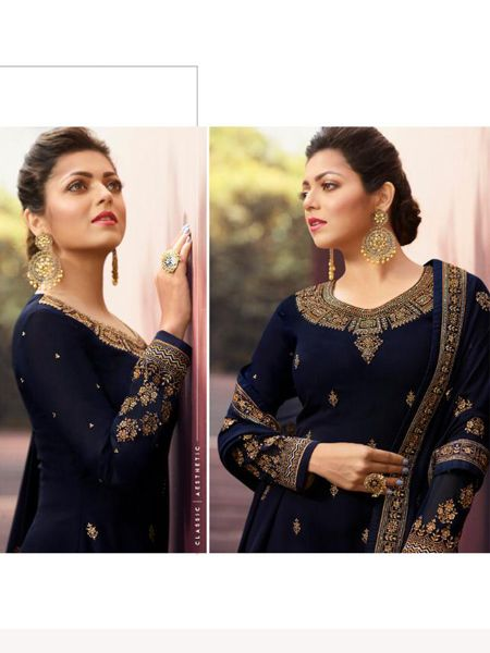 Designer Blue Embroidered Churidar Suit