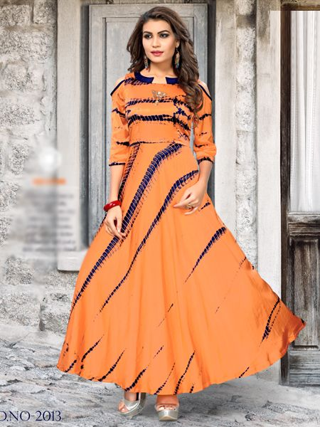 Orange Satin Shibori Printed Kurti