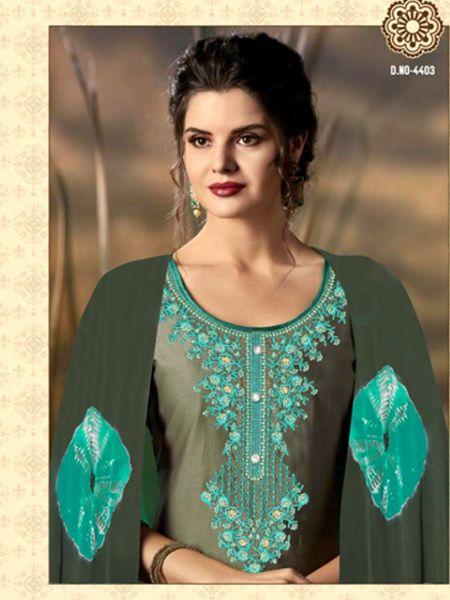Grey and Green Patiala Salwar Suit