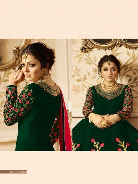 Green Partywear Anarkali Dress