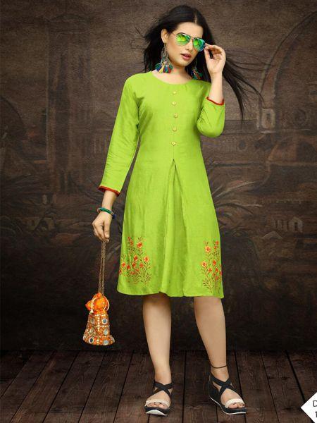 Party Wear Parrot Green Short Kurti for Girls