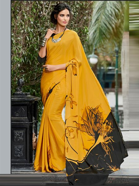 Yellow Printed Crepe Saree