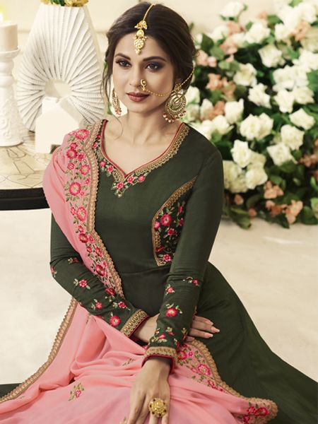 Jennifer Winget Green Silk Bollywood Anarkali Frock Suit