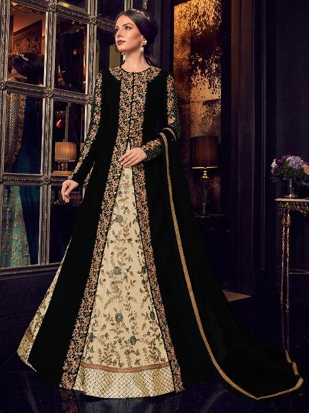 Black and Beige Long Anarkali Gown