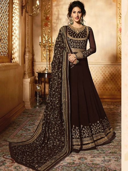 Brown Long Anarkali Gown