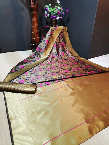 Designer  Brown Soft Silk Saree