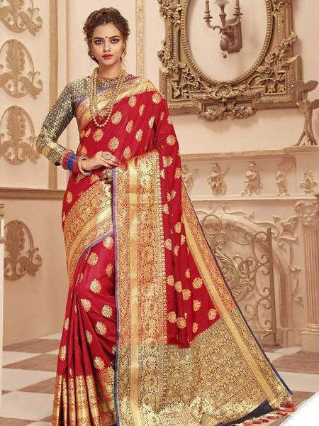 Red Banarasi Silk Designer Saree for Wedding