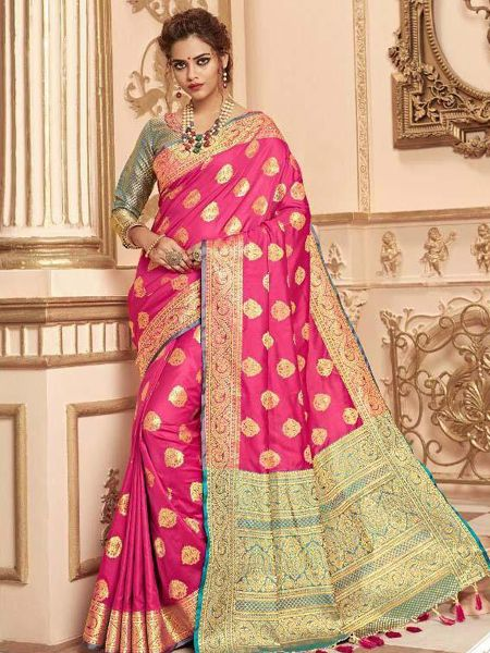Buy Pink Banarasi Silk Saree with Heavy Pallu Online in India - YOYO Fashion