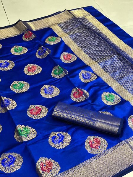 Buy Peacock Motif Blue Silk Saree Online in India - YOYO Fashion