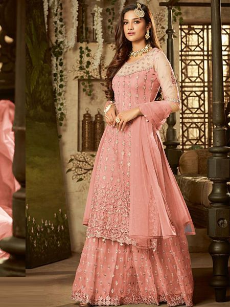 Buy Designer Pink Net Sharara Dress Online in india- YOYO Fashion
