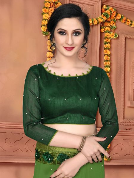 Latest Green Georgette Saree