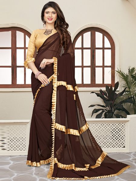 Fancy Ruffle Brown Georgette Saree
