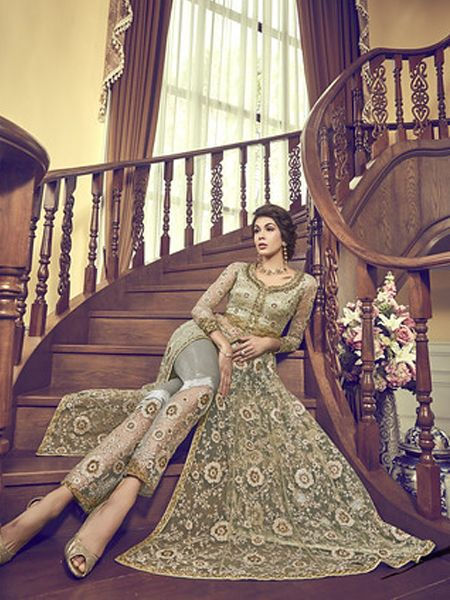 Light Green Net Anarkali Dress