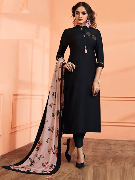 Plain Black Kurta Set with Printed Dupatta