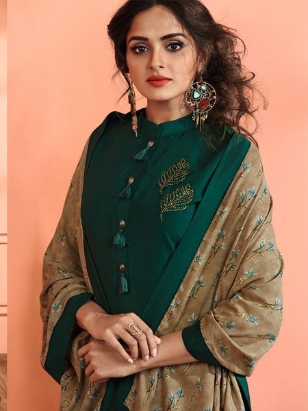 Dark Green Solid Kurta Set with Dupatta