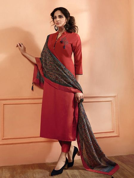 Brick Red Solid Kurta Set with Dupatta