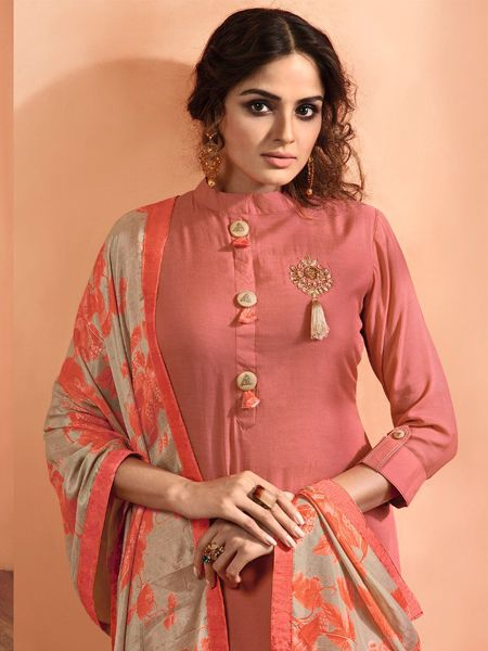 Peach Solid Kurta Set with Dupatta