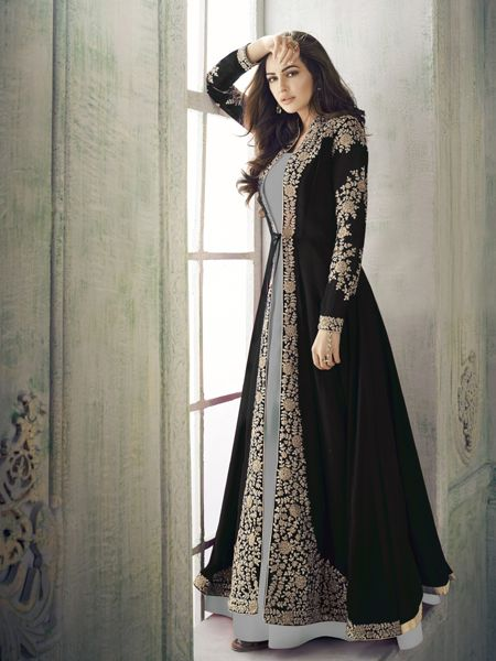 Designe  Black and Grey Anarkali Suit