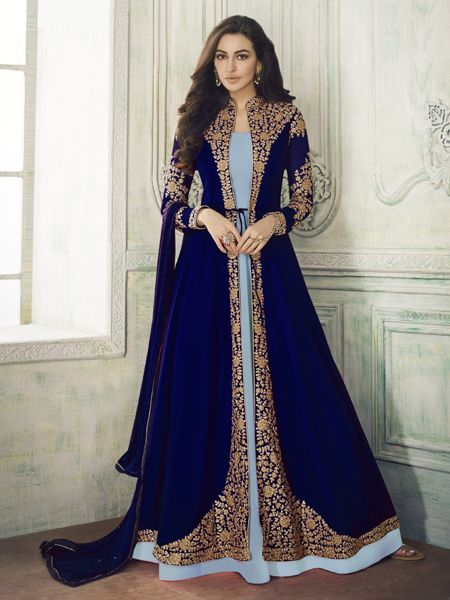 Buy Designer Blue Anarkali Suit Online- YOYO Fashion