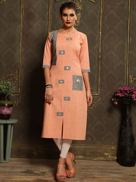 Buy Plain Orange Khadi Kurti Online in India- YOYO Fashion