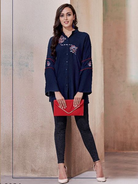 Blue Solid Tunic