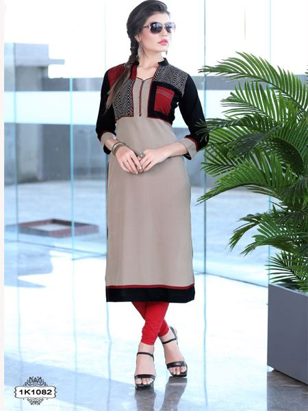 Buy Beige Rayon Kurti Online in India-Uk-Usa - YOYO Fashion