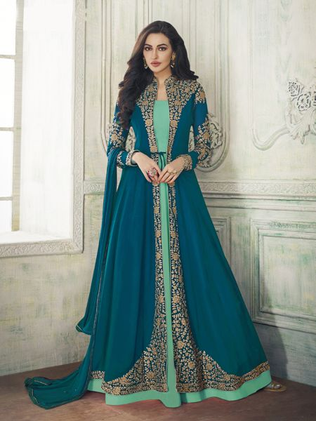 Buy Designer Turquoise Anarkali Suit Online- YOYO Fashion