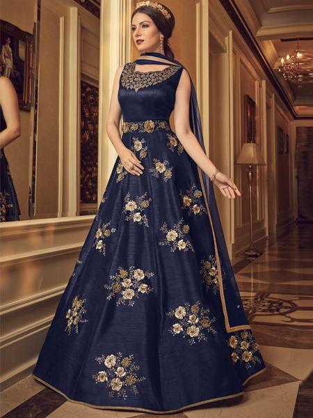 Designer  Blue Silk Anarkali Dress