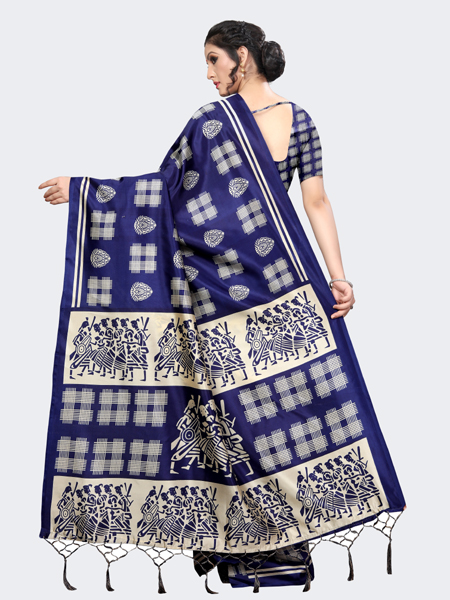 Designer Blue Art Silk Saree