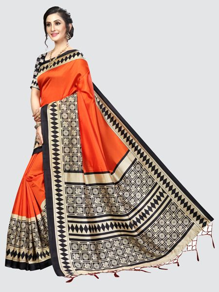 Orange and Black Art Silk Saree