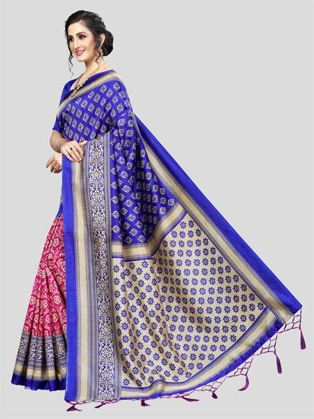 Blue and Pink Art Silk Saree