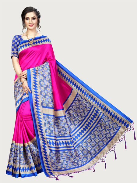 Pink and Blue Art Silk Saree