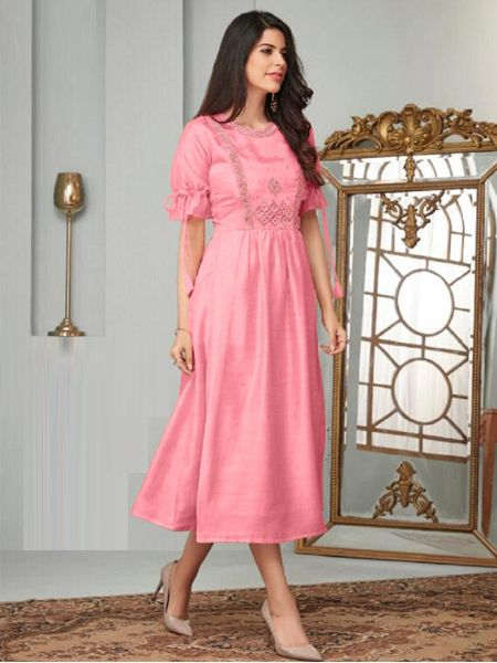 Buy Stylish Pink A-Line Kurti Online in India- YOYO Fashion
