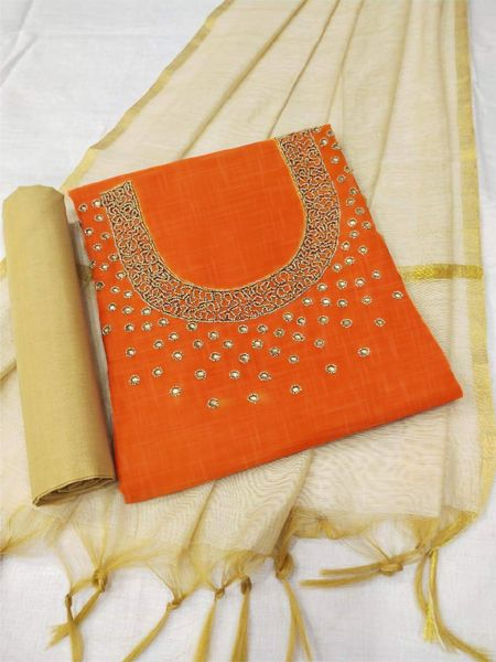 Orange and Beige Cotton Dress Material