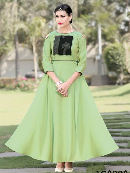 Buy Designer Parrot Green Rayon Gown Online in India- YOYO Fashion