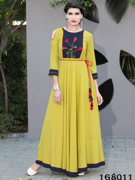 Buy Designer Yellow Rayon Gown Online in India- YOYO Fashion