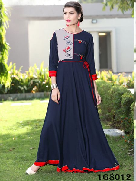 Buy Designer Blue Rayon Gown Online in India - YOYO Fashion