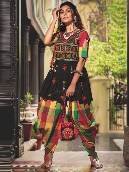 Buy Black Kedia With Tulip Pants Online in India - YOYO Fashion
