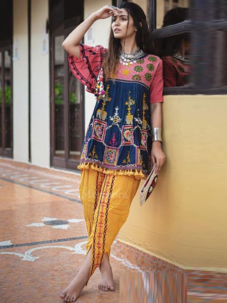 Buy Blue and Yellow Kedia With Tulip Pants Online- YOYO Fashion