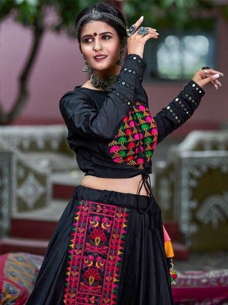 Black Cotton Embroidered Chaniya Choli